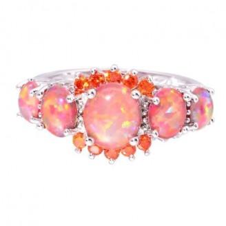 Orange Harlequin Opal Engagement Ring