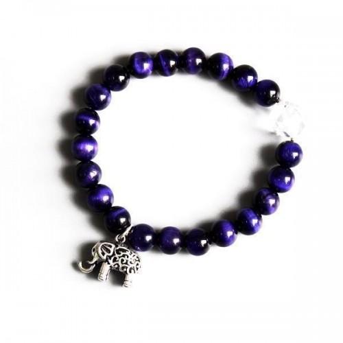 Violet Stone Beads Elephant Charm Meditation Bracelet