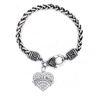 'Police Mom' Crystal Heart Charm Chain Bracelets [5 Variants]