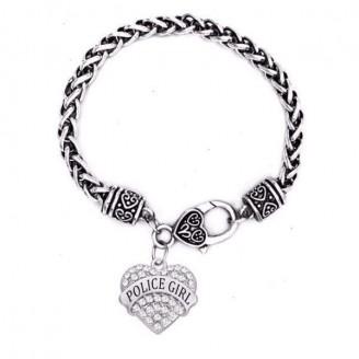 'Police Girl' Crystal Heart Charm Chain Bracelets [5 Variants]