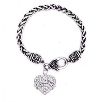 'Police Wife' Crystal Heart Charm Chain Bracelets [5 Variants]