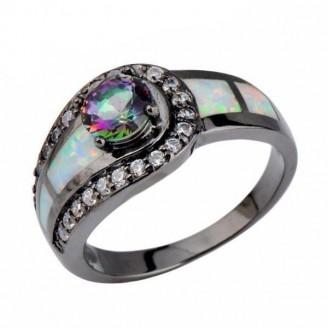 Black Fire Rainbow Opal Ring