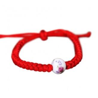 Floral Porcelain Bead Braided Rope Bracelet [4 Variants]
