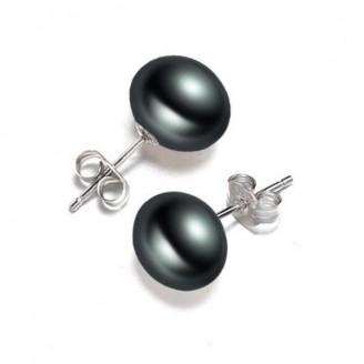 Simple Black Pearl Stud Silver Earring [3 Variants]