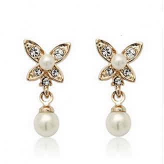 Butterfly Pearl Stud Earrings