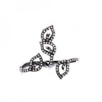 Crystal Ivy Gunmetal Black Two Finger Ring