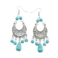 Tibetan Silver Turquoise Rain Drop Earrings