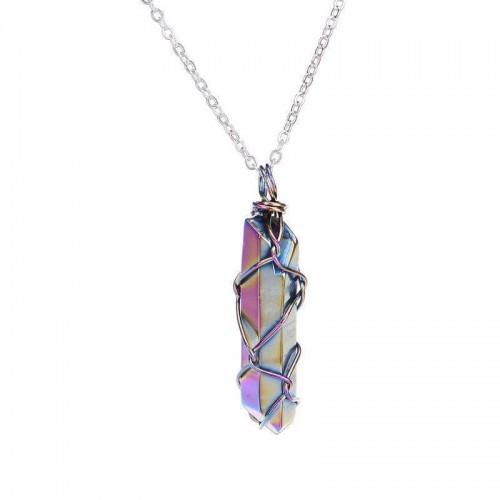 Silver Wire Wrap Quartz Crystal Necklace [2 Variants]