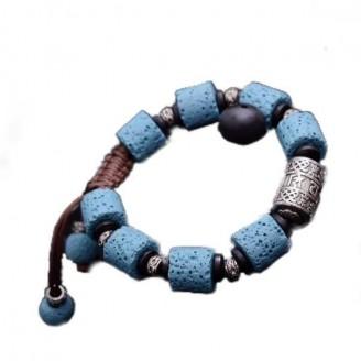 Vintage Om Blue Lava Incantation Bracelet