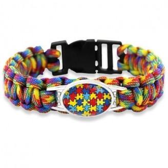 Hope Love Autism Awareness Puzzle Piece Survival Paracord Bracelet [6 Variants]
