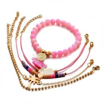 Gold Tropical Dreamcatcher's Blush Tassel Women's Bracelet Set [Set of 4]