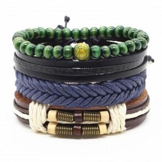 4-in-1 Bead Leather Bracelet Set [Set of 4] [14 Variants]