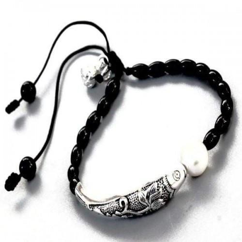 Pearl Silver Arowana Prayer Beads Bracelets