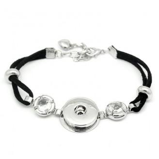Snap Button Black Cord Bracelet