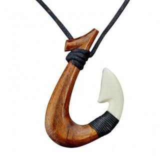 Maui Surfer Hand Carved Fishhook Necklace