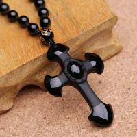 Black Obsidian Cross Pendant Necklace
