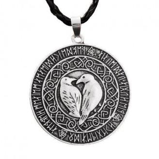 Twin Ravens Amulet Pendant Necklace