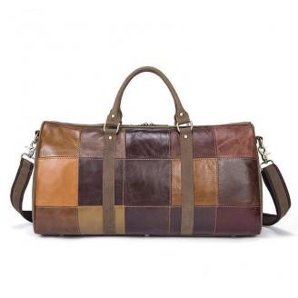 Genuine Cowhide Leather Patchwork Business Weekend Bag