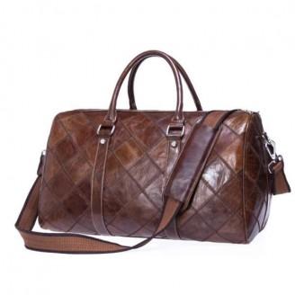 Genuine Full-grain Leather Quilted Weekend Bag [2 Variants]