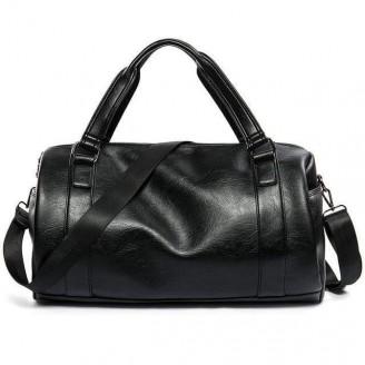 Black Genuine Leather Rolling Weekend Bag